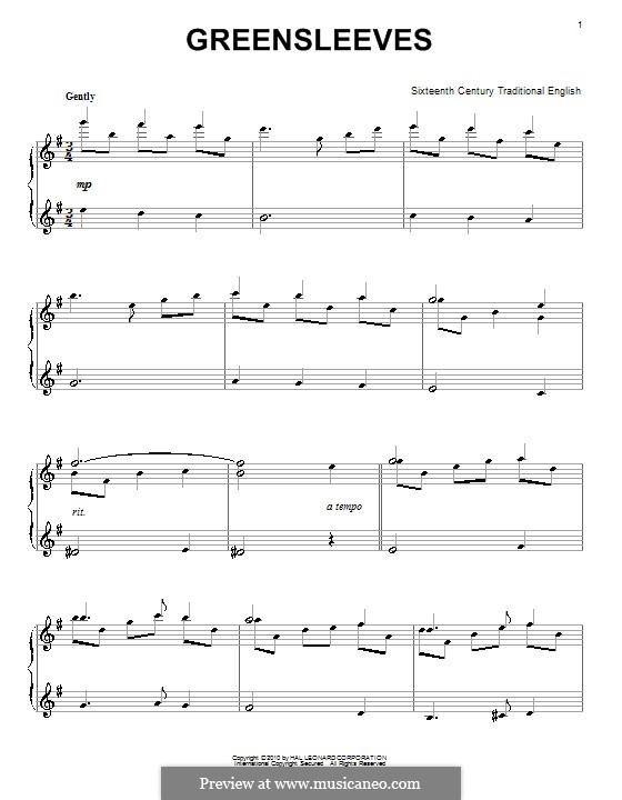 Greensleeves, for Piano: para um único musico (Editado por H. Bulow) by folklore