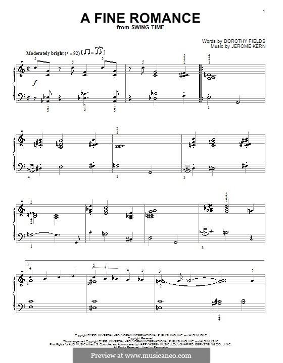 A Fine Romance: Para Piano by Jerome Kern