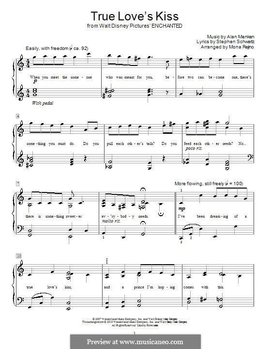 True Love's Kiss: Para Piano by Alan Menken