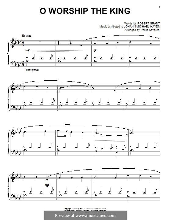 O Worship The King: Para piano (A flat maior) by Michael Haydn