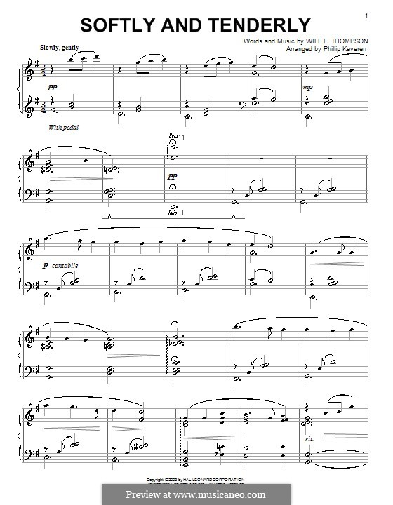 Softly and Tenderly: Para Piano by Will Lamartine Thompson