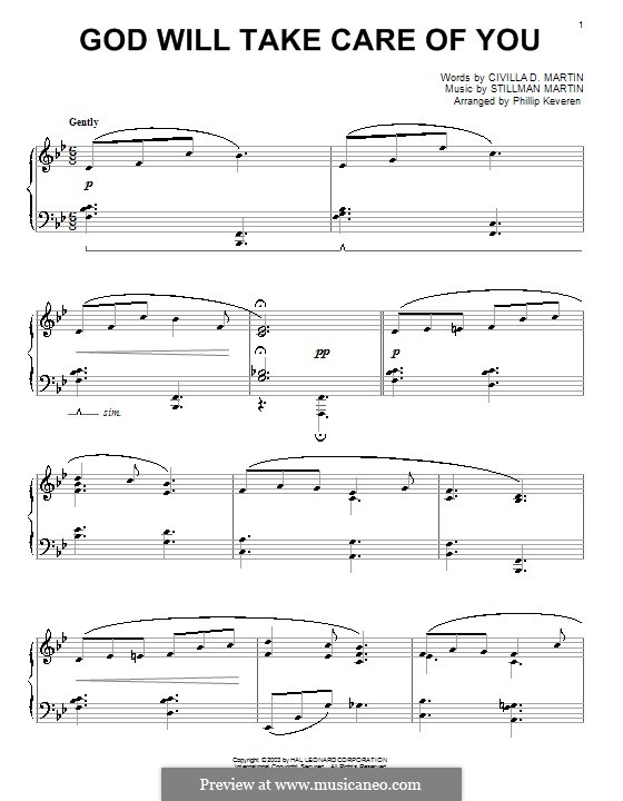 God Will Take Care of You: Para Piano by W. Stillman Martin