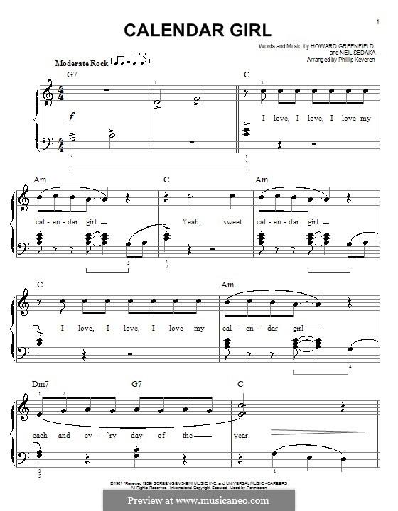 Calendar Girl: Facil para o piano by Howard Greenfield