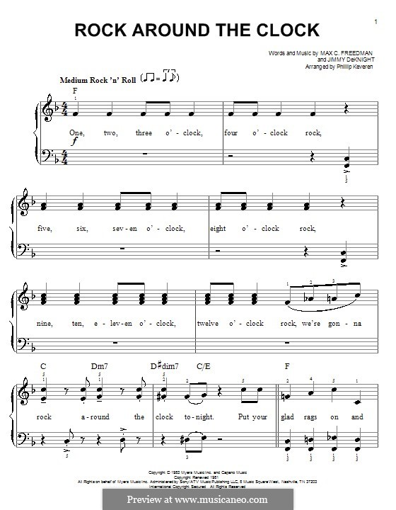 Rock Around the Clock (Bill Haley and His Comets): Facil para o piano by Jimmy DeKnight, Max C. Freedman