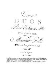 Three Duos for Violin and Viola, BI 87, 39, 78 Op.2: Tres duos pra violino e viola by Alessandro Rolla