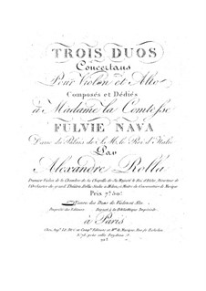 Three Concert Duos for Violin and Viola, BI 61, 101, 85 Op.5: Three Concert Duos for Violin and Viola by Alessandro Rolla