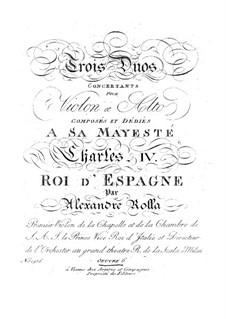Three Concert Duos for Violin and Viola, BI 38, 88, 77 Op.6: Three Concert Duos for Violin and Viola by Alessandro Rolla