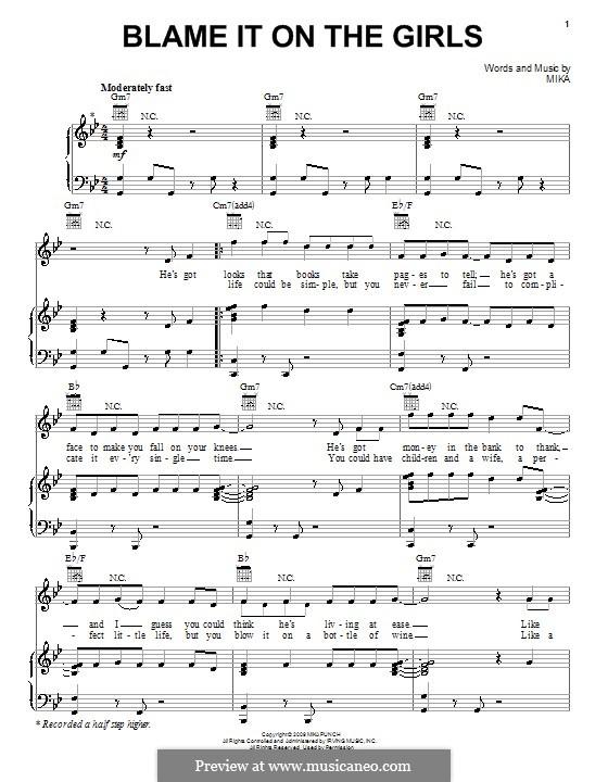 Blame it on the Girls: Para vocais e piano (ou Guitarra) by Mika