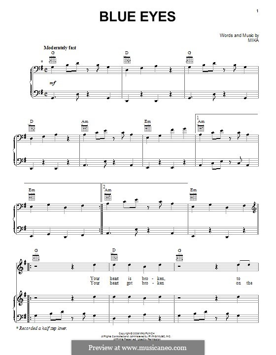 Blue Eyes: Para vocais e piano (ou Guitarra) by Mika