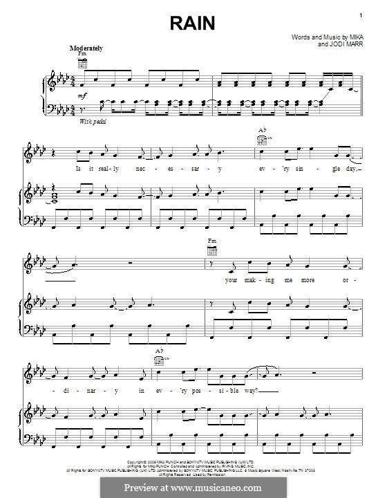 Rain: Para vocais e piano (ou Guitarra) by Mika, Jodi Marr