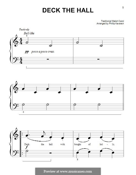 Deck the Hall, for Piano: versão muito facil by folklore