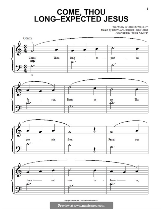 Come, Thou Long-Expected Jesus: para piano (versão facil) by Rowland Huw Prichard