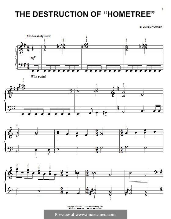 The Destruction of 'Hometree': Facil para o piano by James Horner