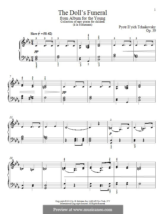 No.7 The Doll's Funeral: Para Piano by Pyotr Tchaikovsky