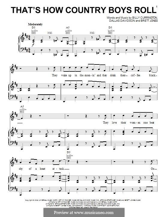 That's How Country Boys Roll (Billy Currington): Para vocais e piano (ou Guitarra) by Brett Jones, Dallas Davidson
