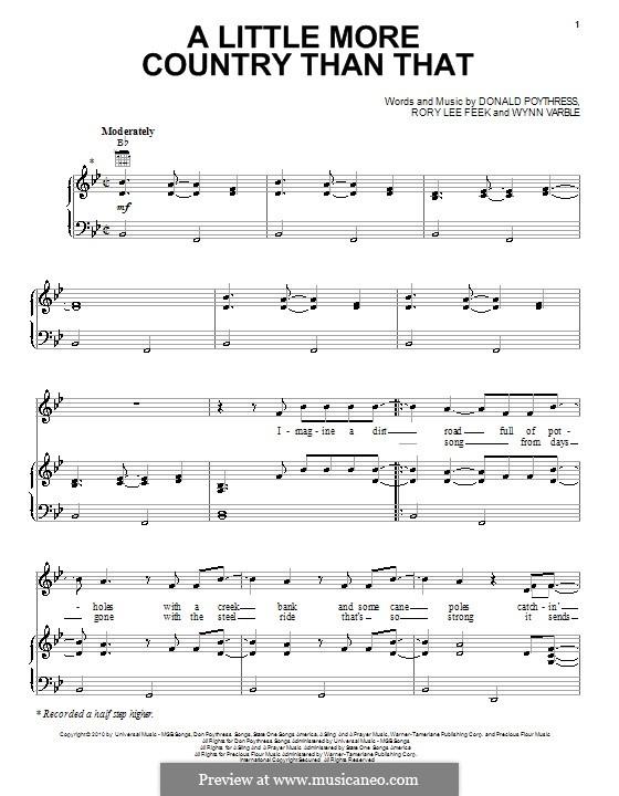 A Little More Country Than That (Easton Corbin): Para vocais e piano (ou Guitarra) by Don Poythress, Rory Lee Feek, Wynn Varble