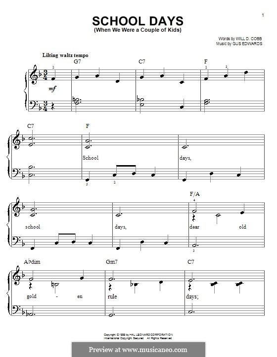 School Days (When We Were a Couple of Kids): Facil para o piano by Gus Edwards