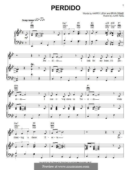 Perdido (Duke Ellington): Para vocais e piano (ou Guitarra) by Juan Tizol