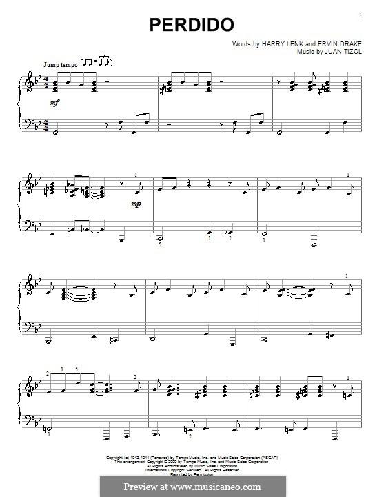 Perdido (Duke Ellington): Para Piano by Juan Tizol