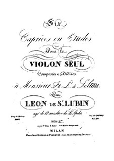 Six Caprices or Etudes for Violin, Op.8: Six Caprices or Etudes for Violin by Léon de Saint-Lubin