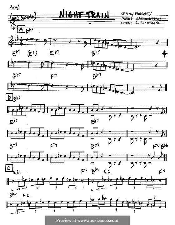 Night Train: melodia e acordes - Instrumentos C by Jimmy Forrest