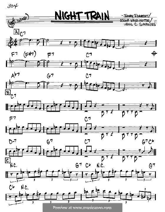 Night Train: Melodia e acordes - Instrumentos Bb by Jimmy Forrest