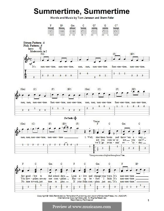 Summertime, Summertime (The Jamies): Para guitarra (versão facil) by Sherm Feller, Tom Jameson