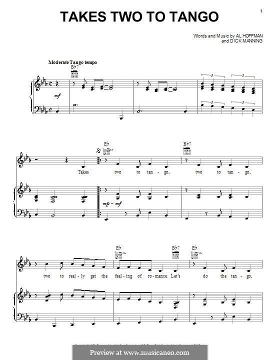 Takes Two to Tango: Para vocais e piano (ou Guitarra) by Al Hoffman