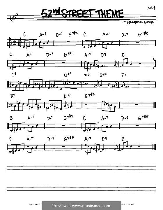 52nd Street Theme: melodia e acordes - Instrumentos C by Thelonious Monk