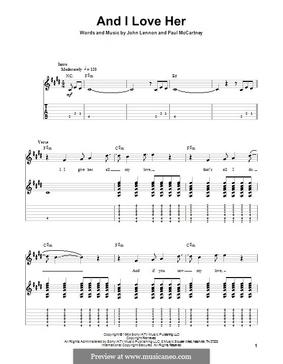 And I Love Her (The Beatles): Para guitarra com guia by John Lennon, Paul McCartney
