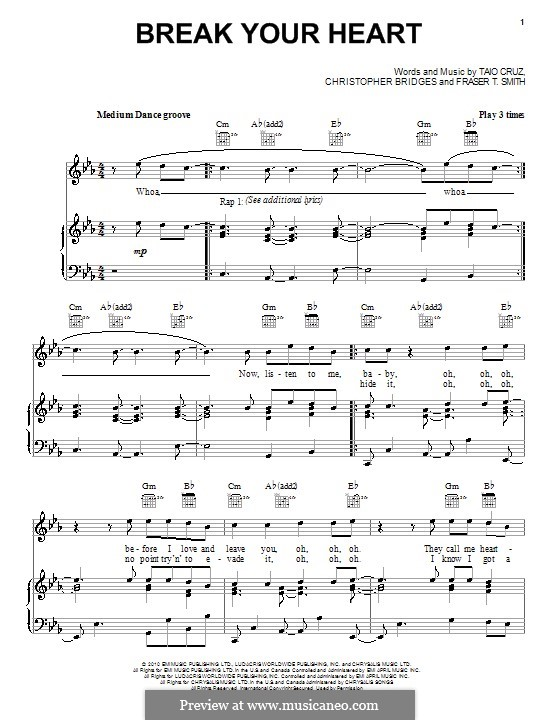 Break Your Heart (Taio Cruz featuring Ludacris): Para vocais e piano (ou Guitarra) by Christopher Bridges, Fraser T. Smith