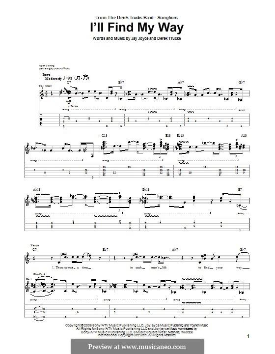 I'll Find My Way (The Derek Trucks Band): Para guitarra com guia by Derek Trucks, Jay Joyce