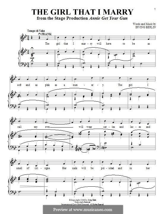 The Girl That I Marry: Para vocais e piano by Irving Berlin