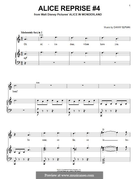 Alice Reprise No.4: Para vocais e piano (ou Guitarra) by Danny Elfman