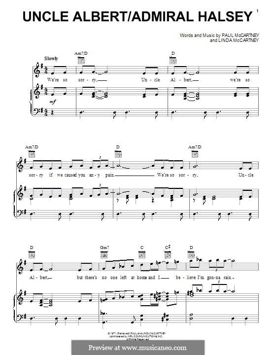 Uncle Albert/Admiral Halsey: Para vocais e piano (ou Guitarra) by Linda McCartney, Paul McCartney