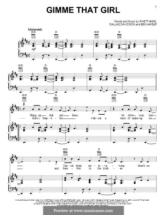 Gimme That Girl (Joe Nichols): Para vocais e piano (ou Guitarra) by Ben Hayslip, Dallas Davidson, Rhett Akins