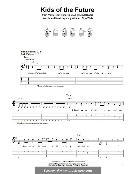 Kids of the Future (Jonas Brothers): Para guitarra (versão facil) by Marty Wilde, Ricky Wilde