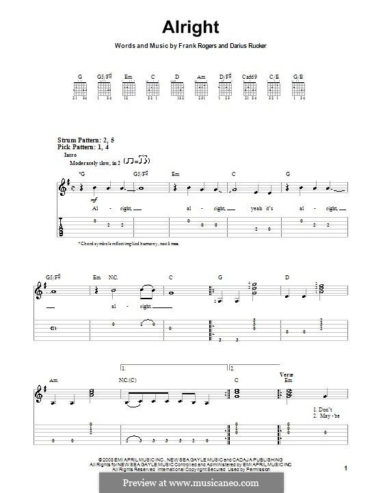 Alright: Para guitarra (versão facil) by Frank Rogers