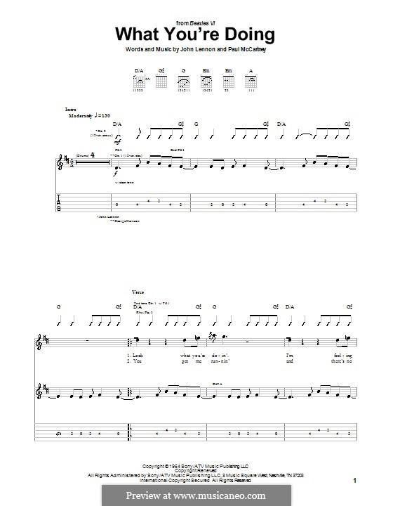 What You're Doing (The Beatles): Para guitarra com guia by John Lennon, Paul McCartney