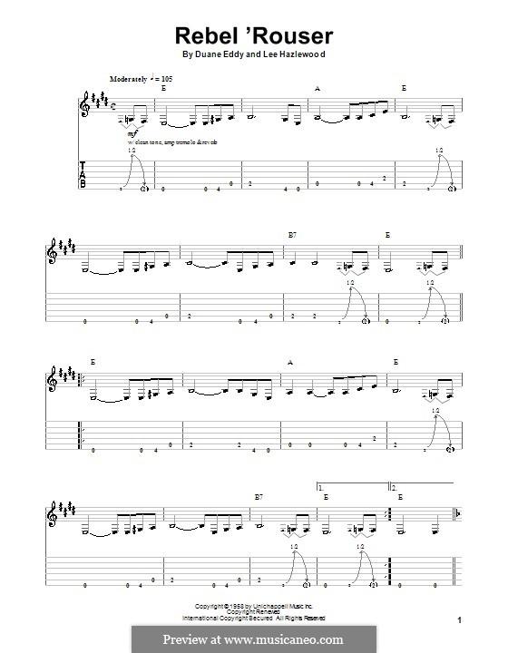Rebel 'Rouser (Duane Eddy): Para guitarra com guia by Lee Hazlewood