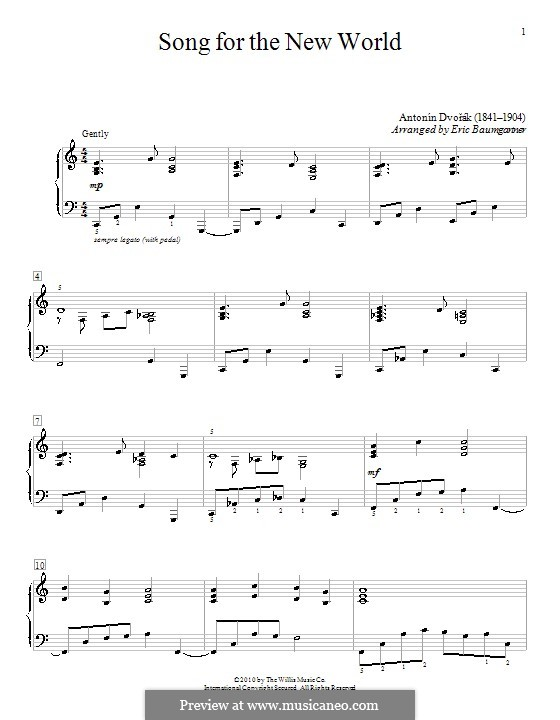 Movement II (Largo) Printable Scores: Theme, version by Eric Baumgartner by Antonín Dvořák