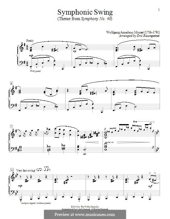 Movement I: tema para piano by Wolfgang Amadeus Mozart