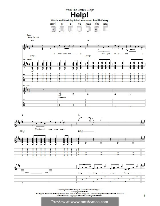 Help! (The Beatles): para guitarra com guia (partitura de alta qualidade) by John Lennon, Paul McCartney