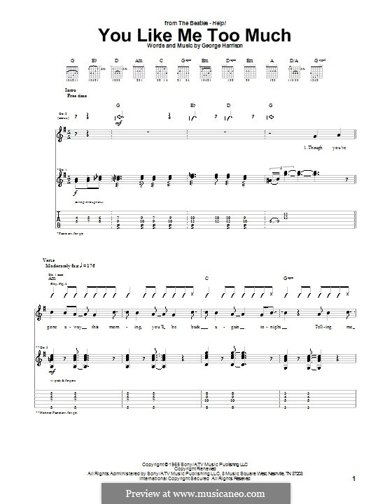 You Like Me Too Much (The Beatles): Para guitarra com guia by George Harrison