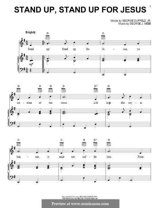 Stand Up for Jesus: Para vocais e piano (ou Guitarra) by George James Webb