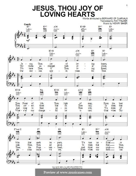 Jesus, Thou Joy of Loving Hearts: Para vocais e piano (ou Guitarra) by Henry Baker