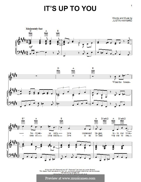 It's Up To You (The Moody Blues): Para vocais e piano (ou Guitarra) by Justin Hayward