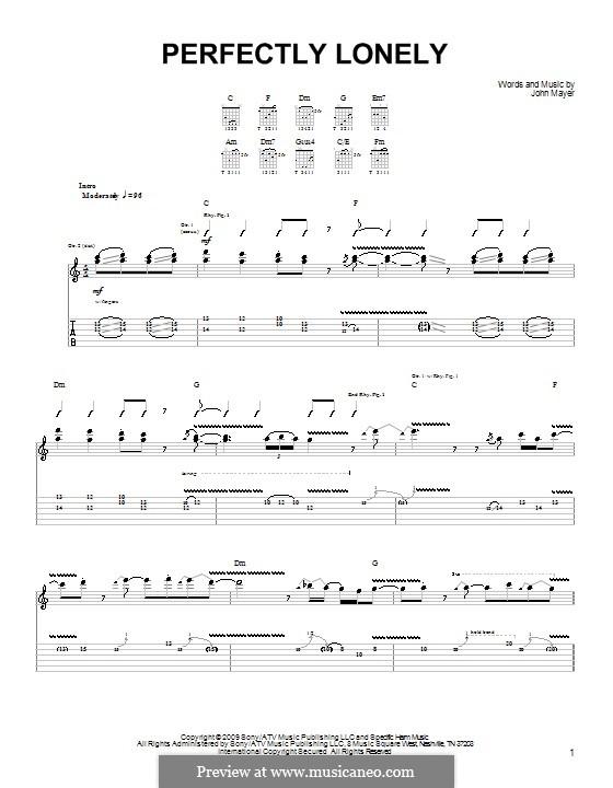 Perfectly Lonely: Para guitarra (versão facil) by John Mayer