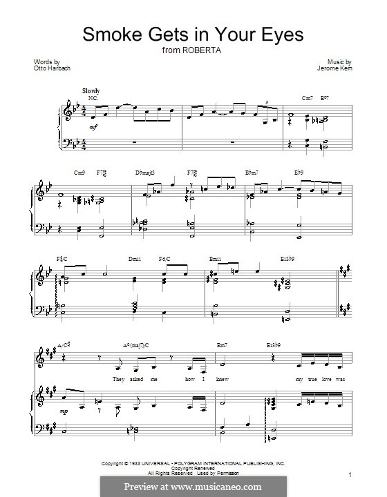 Smoke Gets in Your Eyes (from 'Roberta'): Para voz e piano ou guitarra (Barbra Streisand) by Jerome Kern