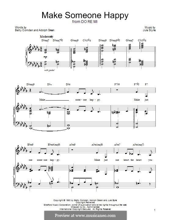 Make Someone Happy: Para vocais e piano (ou Guitarra) by Jule Styne